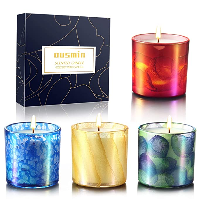 JHENG Aromatherapy Scented Candles 8 x 2.5 Oz Travel Tin Decorative Candle Birthday Relaxing Candle Gift for Women Essential Oil Soy Wax Stress Relief Candle