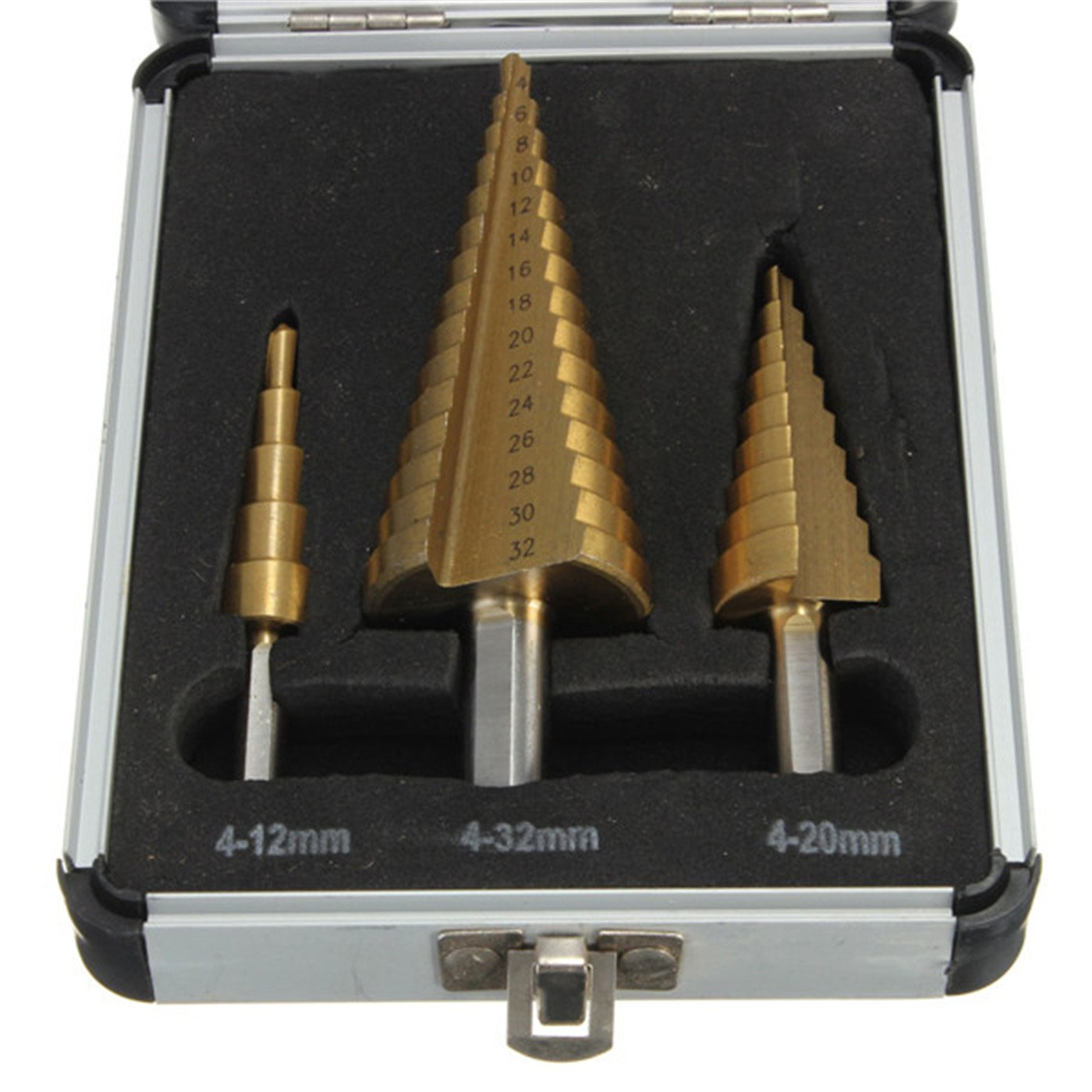 LEXPON SCE014  3-Piece Professional HSS Step Cone Drill Bit Set in Aluminium Box, 4 - 12 / 4 - 20 / 4 - 32  mm 4 - 12 / 4 - 20 / 4 - 32 mm LEXPON.CO. LTD