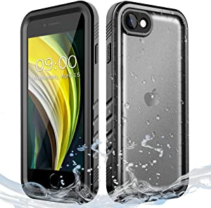 Cozycase Waterproof Case for iPhone SE 2020, Shockproof Full-Body Rugged Bumper Sealed Case with Built-in Screen Protector for iPhone SE 2nd Generation/iPhone 8 / iPhone 7-Black