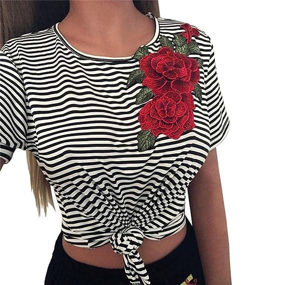 QinMM Camiseta a Rayas con Rose Apliques de Mujer, Blusa de Manga Corta: Amazon.es: Ropa y accesorios