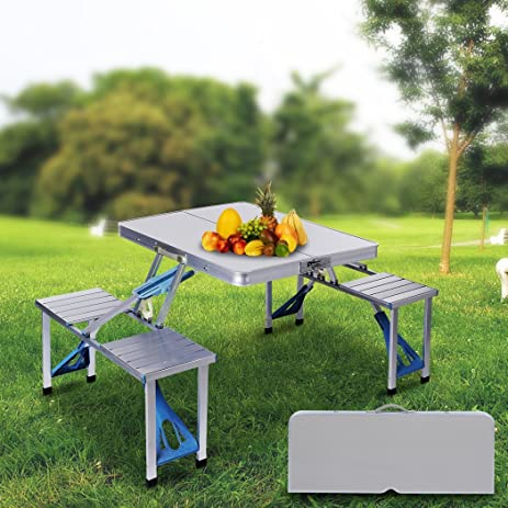 Amazoncom Garain Portable Folding Outdoor Camping Suitcase Picnic - Picnic table parasol