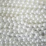 Rhode Island Novelty Large Faux Pearl Necklace, White, 8 mm