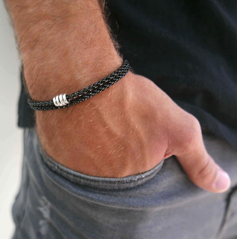 """Handmade Black Plated Over Stainless Steel Chain Bracelet For Men Set With Stainless Steel Bead - Beaded Bracelet For Men - Total Length 14.5"""""""