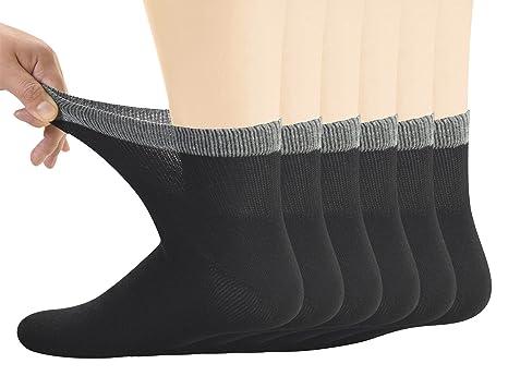 Yomandamor Men's Bamboo Diabetic Ankle Socks with Seamless Toe and  Non-Binding Top,6 - Yomandamor Men's Bamboo Diabetic Ankle Socks With Seamless Toe And