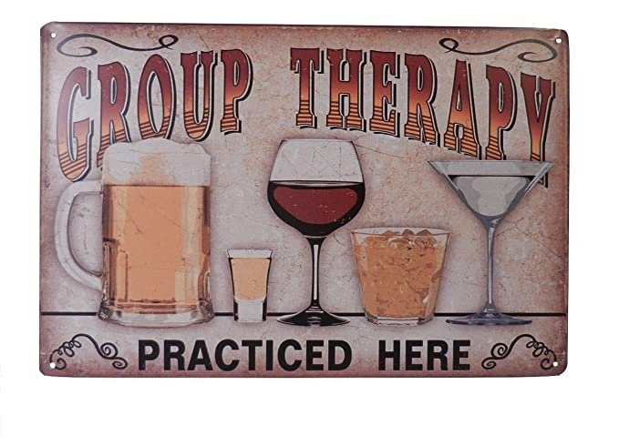 Amazon Beer Alcohol Drinking Group Therapy Funny Tin Sign Bar