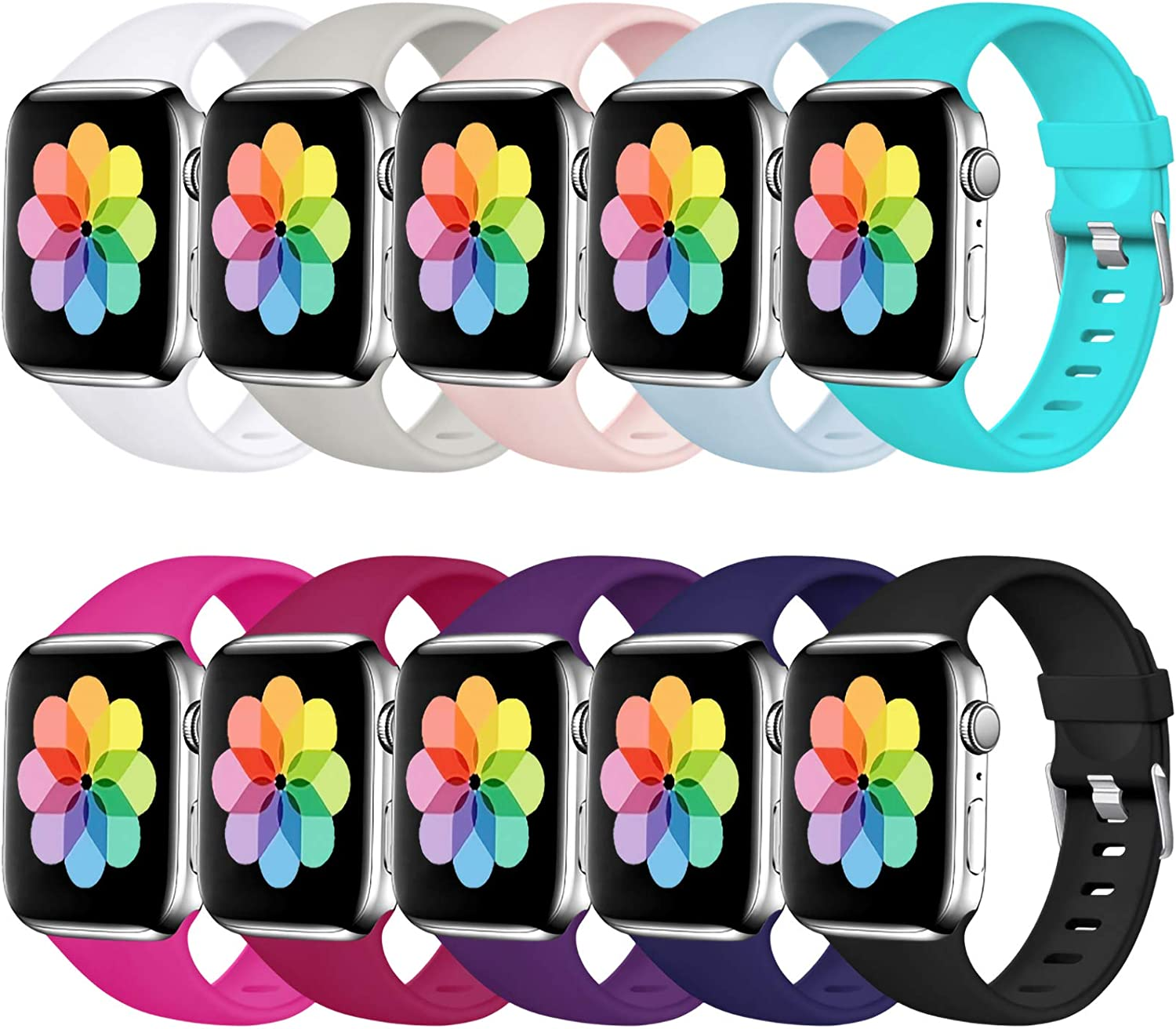 Haveda Sport Compatible for Apple Watch Band 40mm Series 6 Series 5 4, iWatch Bands 38mm Womens for Apple Watch SE, iwatch Series 3 2 1 Men, Waterproof band for Apple Watch 5, 10Pack 38mm/40mm S/M