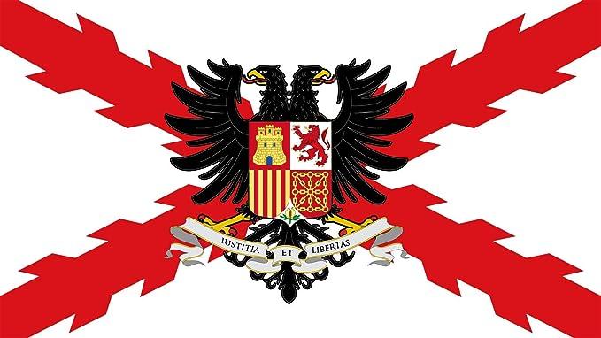 Bandera Imperial española Cruz de Borgoña Aguila bicéfala.: Amazon.es: Jardín