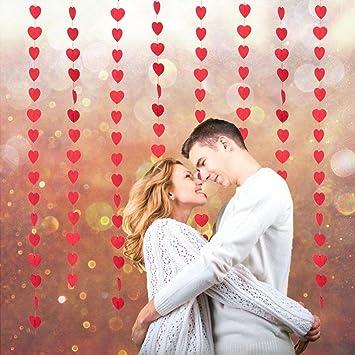 8Stk Rot Herz Linie Türvorhang Portiere Vorhang Deckenhänger Fenster Zimmer  Herzform Deko Hochzeit Valentinstag Geburtstag Babytaufen