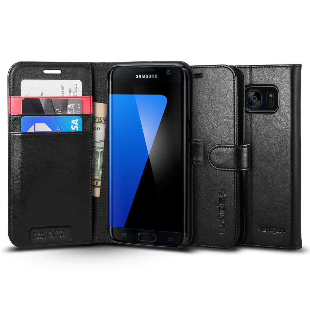 Spigen Wallet S Galaxy S7 Edge Case with Foldable Cover and Kickstand Feature for Samsung Galaxy S7 Edge 2016 - Black 556CS20050