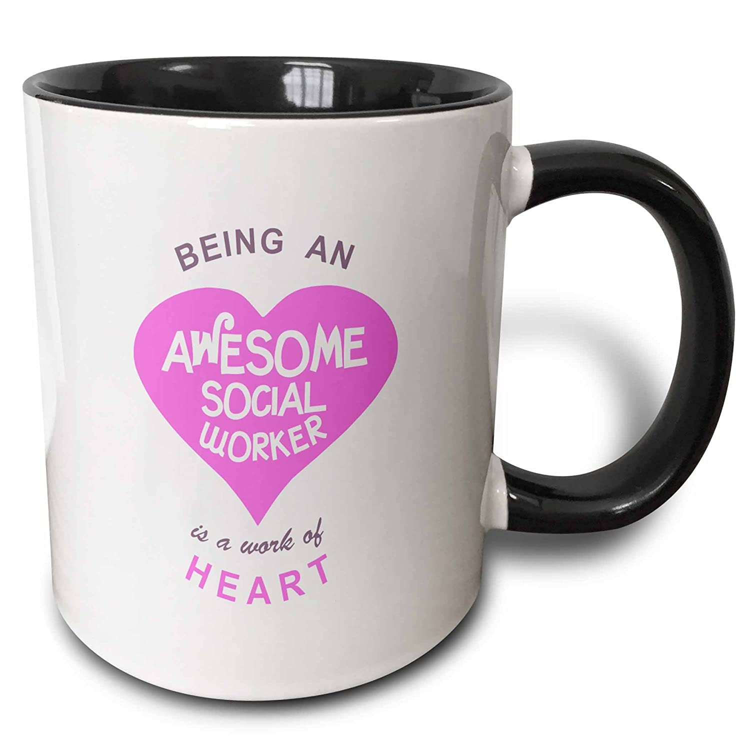 3dRose Being an Awesome Social Worker is a work of Heart - pink - job quote - Two Tone Black Mug, 11oz (mug_183884_4), 11 oz, Black/White 3EROS