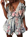 Famulily Women's Cute Summer Beach Cold Shouler Flower Print Short Jumpsuit Romper