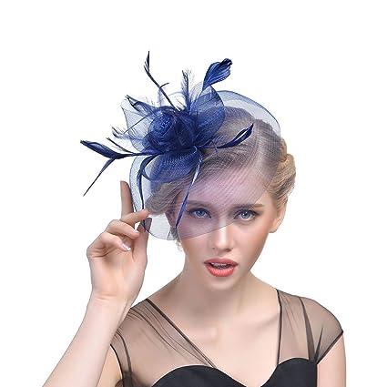 JZK® Fiore retina piume velo fascinator blu scuro con cerchietto   mollette  copricapo cerimonia matrimonio 3ba403b91016