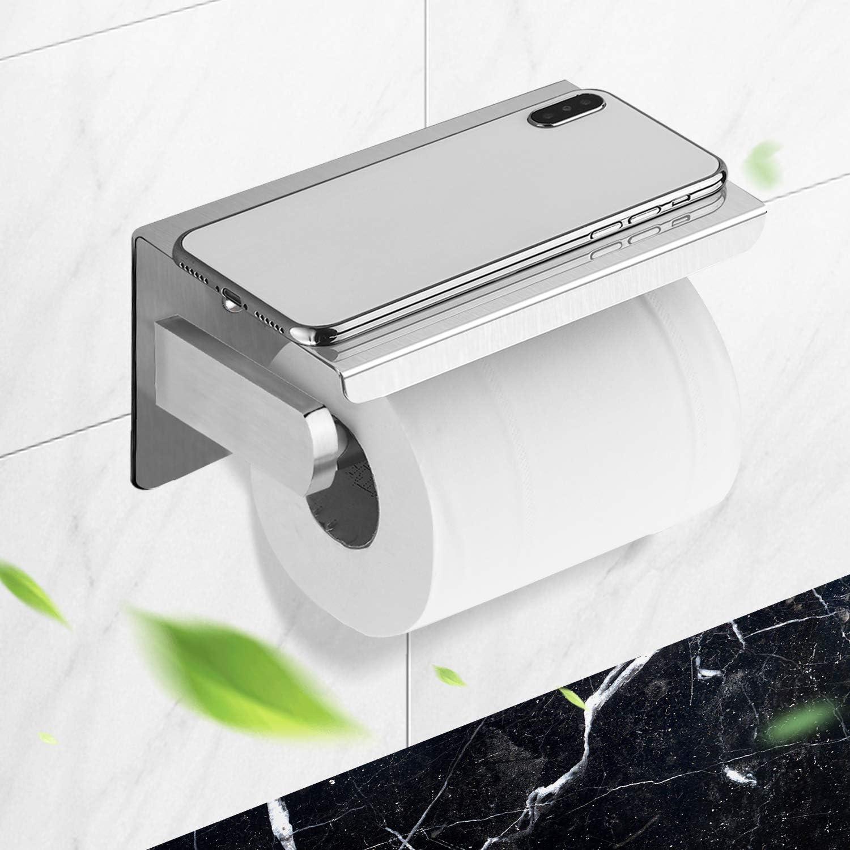 Toilettenpapierhalter aus Edelstahl mit Abstellfläche aus Glas schwarz 2