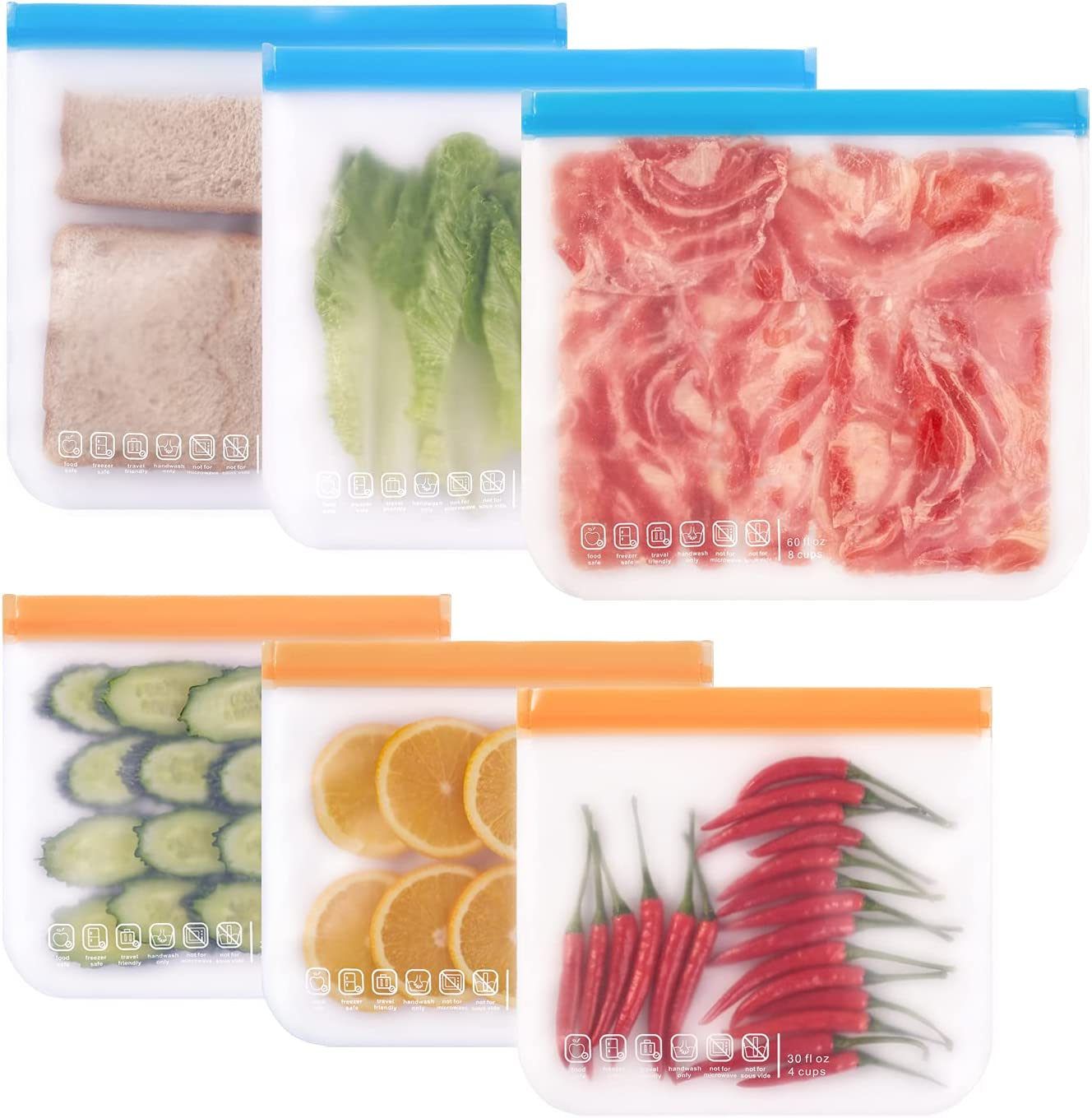 Reusable Food Storage Bags- 6 Pack BPA FREE Flat Freezer Bags (3 Reusable Gallon Bags & 3 Leakproof Reusable Sandwich Bags Small Kids Snack Bags) for Meat Veggies Fruit