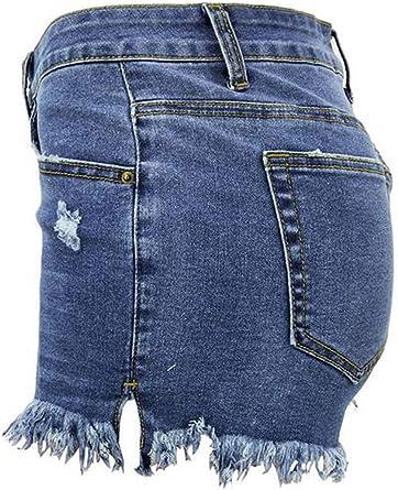 AJUMKER Jeans a Vita Bassa da Donna Pantaloncini con Risvolto Pantalone a Nappa Pantaloni sfilacciati a Mano con Orlo strappato Pantaloncini con Tasche X-2XL