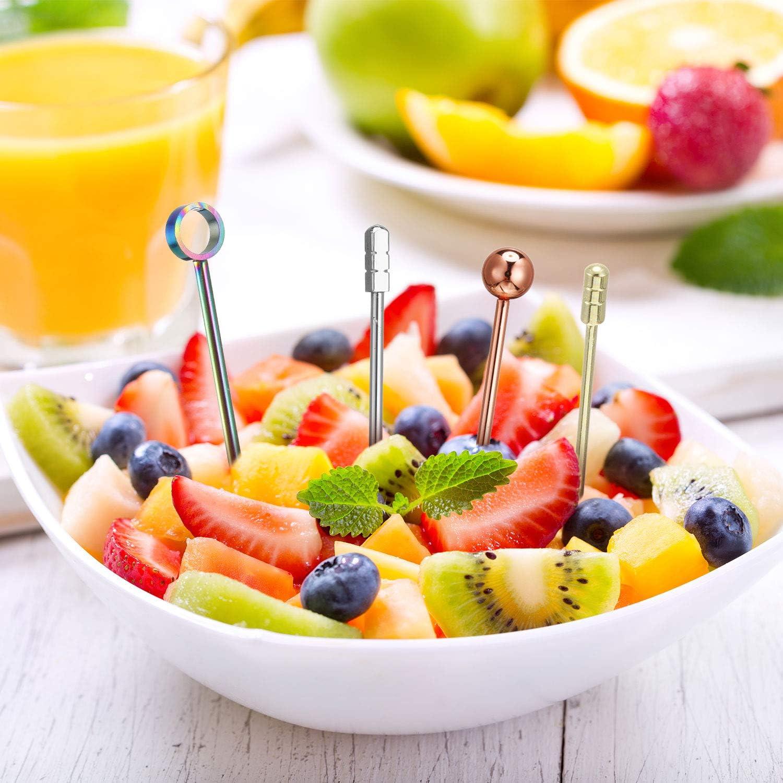Palillos de Cóctel de Acero Inoxidable Palillos de Fruta Multicolores Palitos de Bebida de Aperitivo para Bar Barbacoa Sándwiches (Plata, Oro Rosa, ...