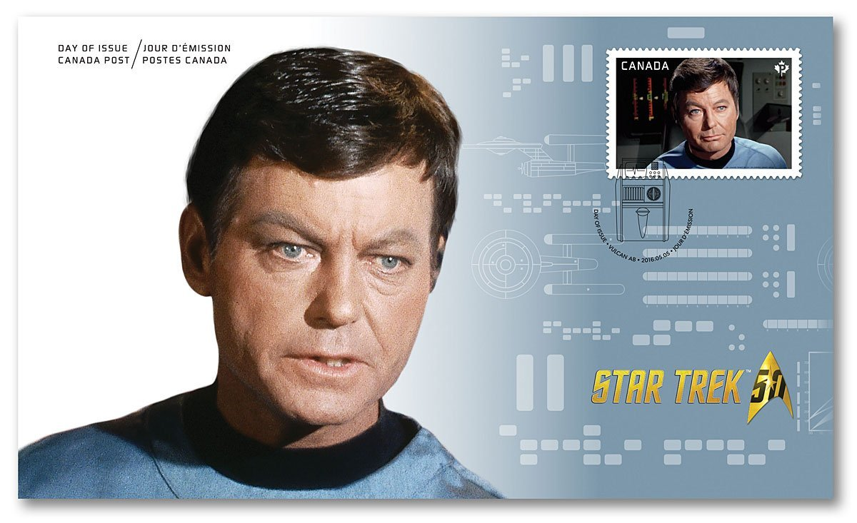 Star Trek 50th Anniversary- McCoy ''Bones'' Official First Day Cover Collectible Postage Stamps Canada