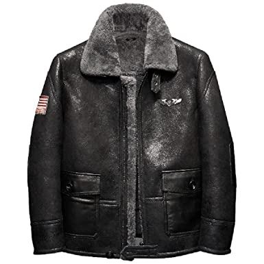 Black Mens Shearling Jacket Short Fur Leather Jacket Man Aviator Fur