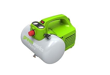 Greenworks 4101302 Compresor de Aire Eléctrico, 300 W, 230 V, Verde