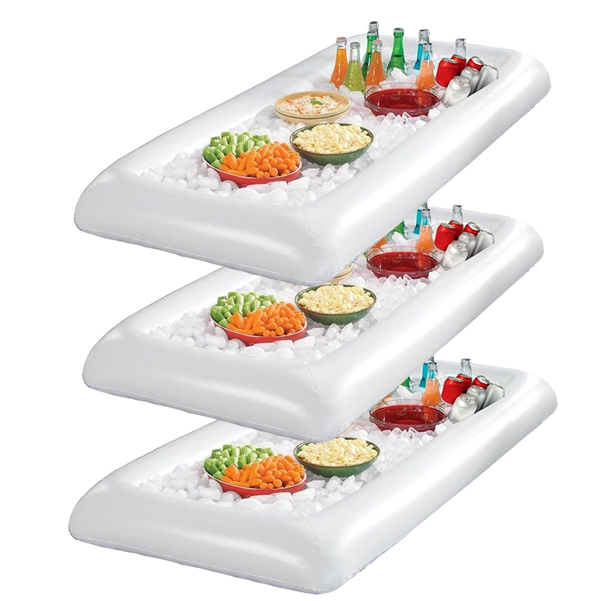 Infltable Buffet Serving & Salad Bar Ice Buckets Food Cooler Inflatable Beer Drink Tray,Food Drink Holder BBQ Picnic Pool,with Drain Plug (3 Pack) by EVINIS