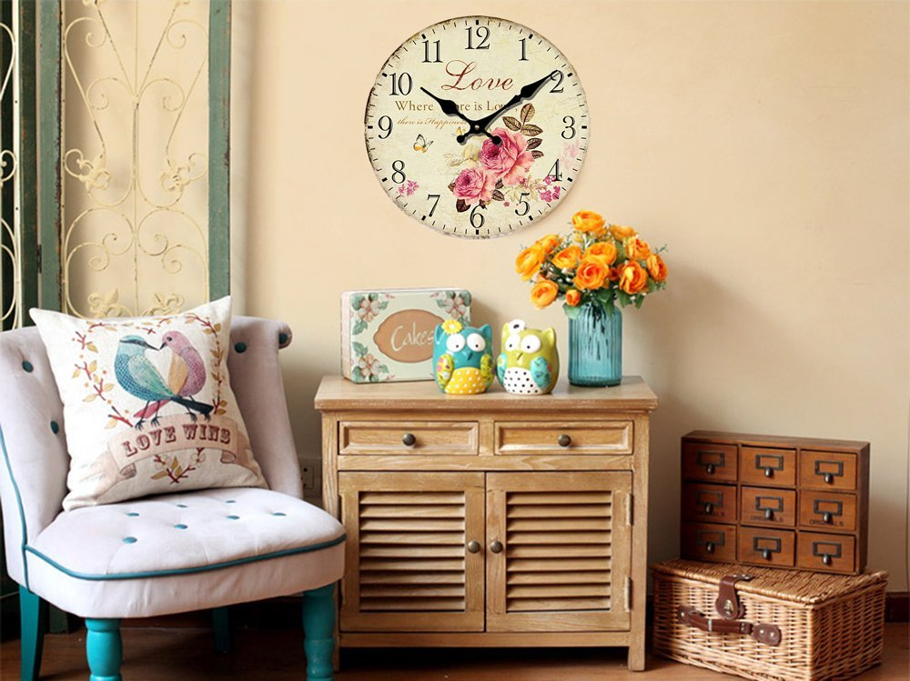 """Romantic Roses Clock, 12"""" Eruner Country Floral Wall Clock *Love* Wooden Art Decor Non-Ticking Home Decoration(C-62)"""