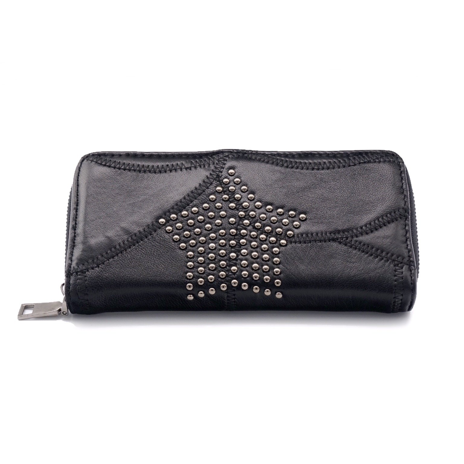 [CaserBay] Women Punk Rock Style Rivet Studded Spiked PU Leather Card Holder Long Wallet Purse (Style 3 Star)