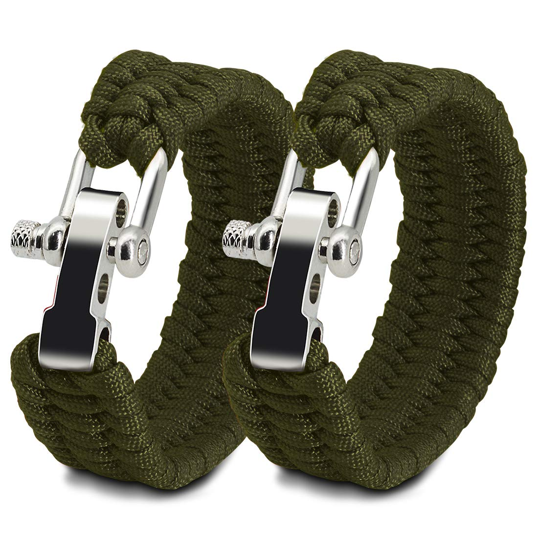 NVioAsport Paracord Survival Bracelet with Adjustable Stainless Steel D Shackle Suitable for 7-9 Wrists