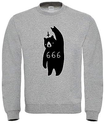 Evil Devil Bear 666 Heavy Metal Rock Funny Sweatshirt: Amazon.es: Ropa y accesorios