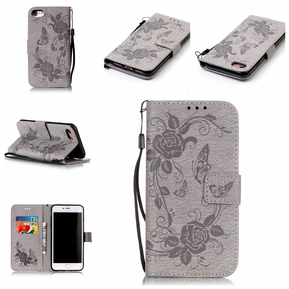 PU Leather Case for iPhone 8 Plus//7 Plus HIGHTec Wallet Cover Book Style Shockproof Protector Flip Shell Stand Function Bumper Card Slots Pocket 3D Flowers Pattern Stylish Design Slim Full Body Protection Pouch Folio Soft Silicone Back Case for iPhone 7 Pl