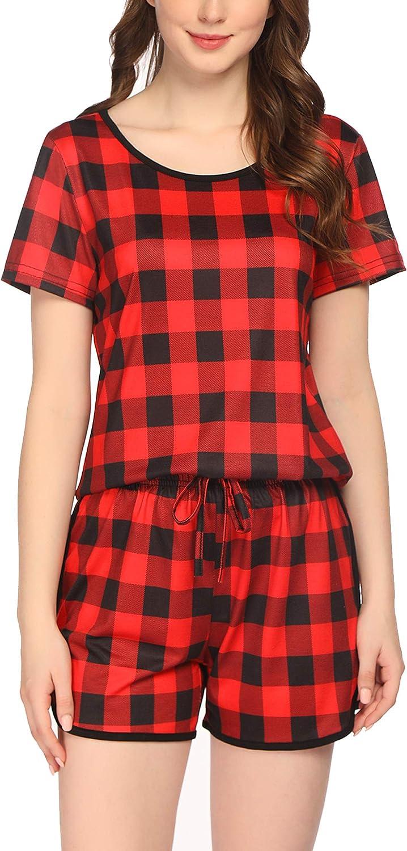 S-XXL Ekouaer Womens Pajama Set with Print Short Sleeve Sleepwear Pj Lounge Sets