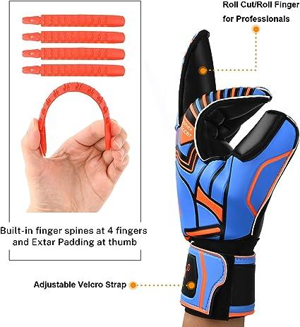 Rollschnitt Finger Fingersave Spinnen 3.5 mm Superior Grip Gonex Torwarthandschuhe GK Torwarthandschuhe f/ür Jugendliche Erwachsene