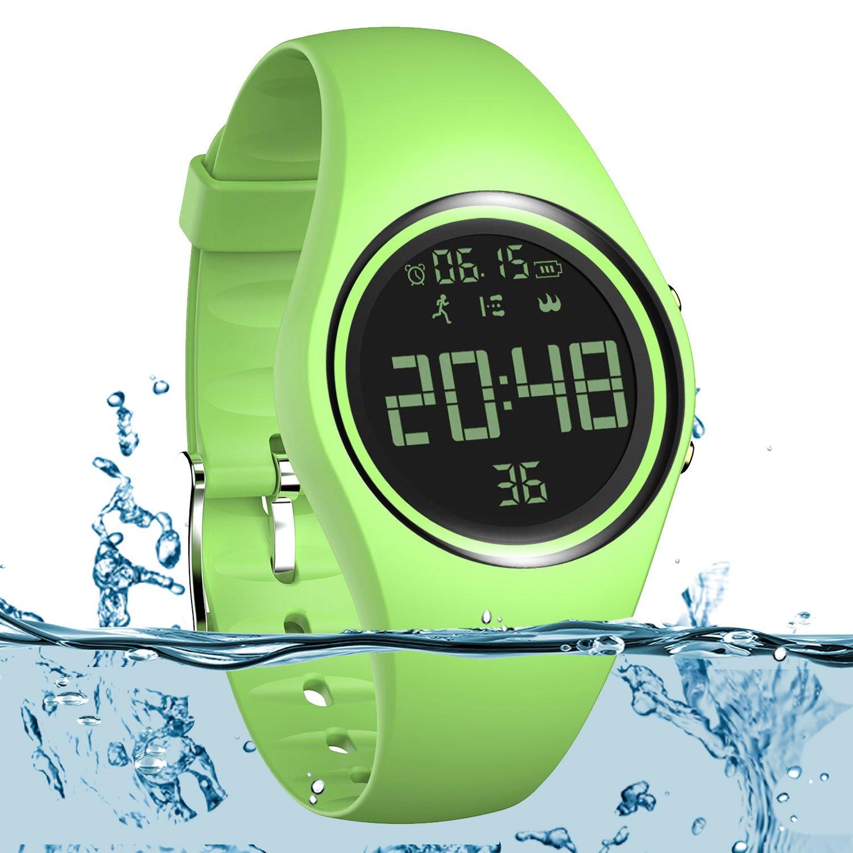 スマートウォッチ非Bluetooth キッズ 万歩計腕時計 スポーツリストバンド IP68 水泳時計 耐水性フィットネストラッカー 正確な手順/距離/カロリー/時計/タイマー付き ウォーキング ランニング用 キッズ メンズ レディース B07C9ZH8VM グリーン  グリーン
