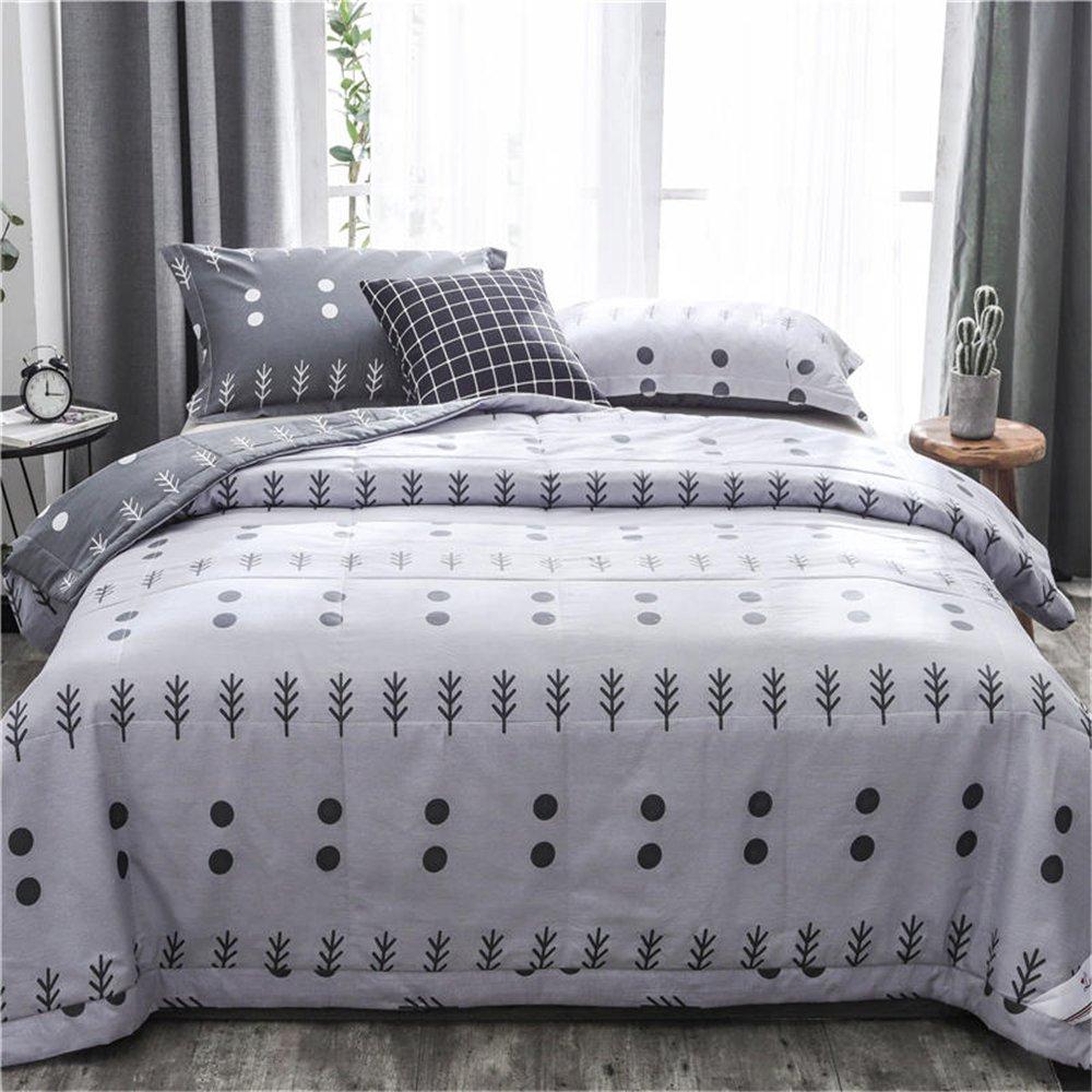 Nokolulu Bedding Cotton Grove Print 3 Size Lightweight Summer Washable Comforter Microfiber Blanket Quilted Throw Quilt(Grove,79''x91'')