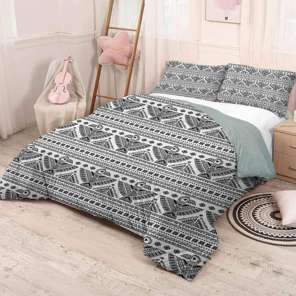 prunushome Native American Quilt Cover Pillowcase Primitive Tribal Art Pattern with Eagle Symbol Mystic Culture Folk Printing Bedclothes Decor Black White California King