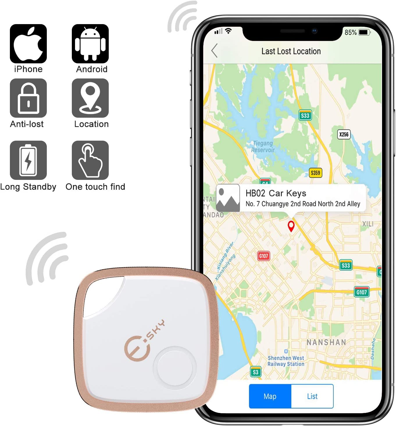 Gray Key Finder Bluetooth Locator Smart Tracker Anti-Lost Bidirectional Alarm Reminder with App for Android//iOS Phone for Phone Dogs Kids Luggage Wallet Replaceable Battery