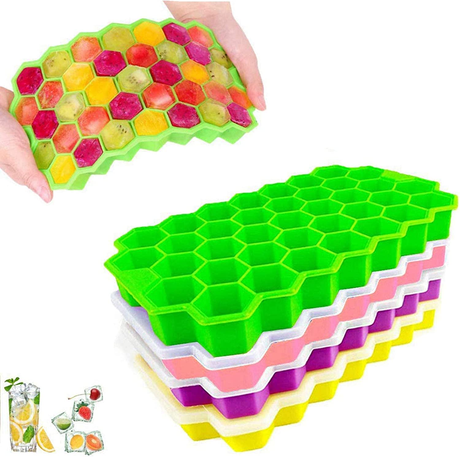 Silicone Ice Cube Tray with Lids BPA Free Food Grade Flexible Ice Cube Molds for Whiskey Storage Cocktail Beverages Easy Released 4-Pack 148 Ice Cubes