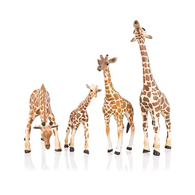 "TOYMANY 4PCS Realistic Giraffe Figurines with Giraffe Cub, 2-7"" Plastic Safari Animals Figures Family Playset Includes Baby, Educational Toy Cake Toppers Christmas Birthday Gift for Kids Toddlers: Toys & Games"