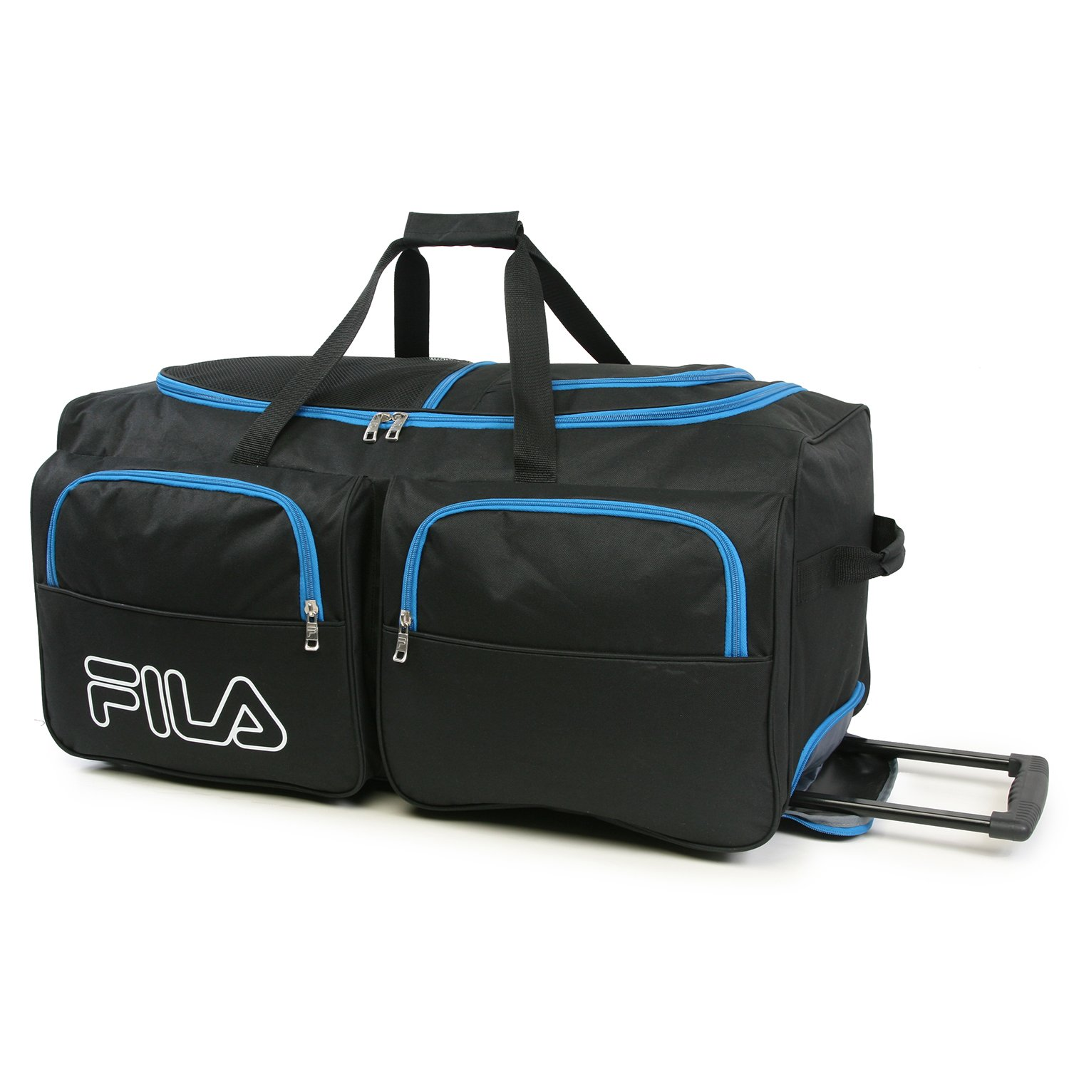 affb9f492b2 Amazon.com   Fila 7-Pocket Large Rolling Duffel Bag, Black Blue One Size    Travel Duffels