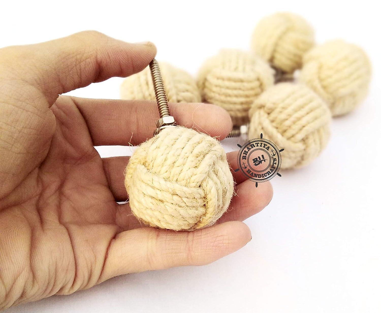 6,5 x 4 x 4 cm Juego de 6 pomos de yute redondos para cajones dise/ño de Bhartiya tama/ño