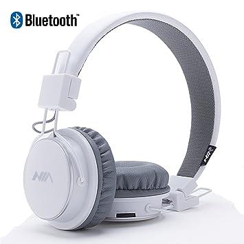 Auriculares Bluetooth inalámbricos, plegables y ligeros sobre la oreja, con radio FM, reproductor