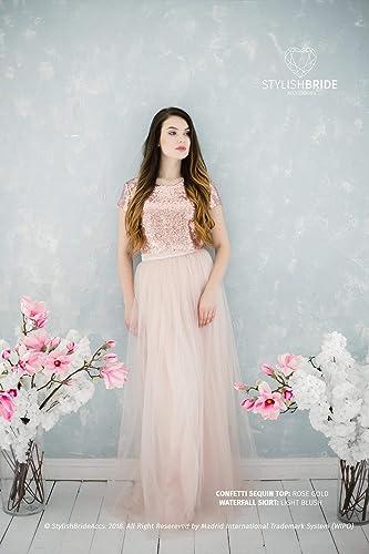 blush sequin dress blush gold bridesmaid dress Rose gold sequin bridesmaid dress