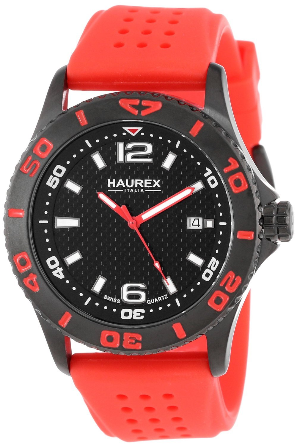 Amazon.com: RELOJ para HOMBRE HAUREX ITALY 3N500U FACTOR BLACK ION-PLATED COATED STAINLESS STEEL ROTATING BEZEL DATE color Red-Rn: Health & Personal Care