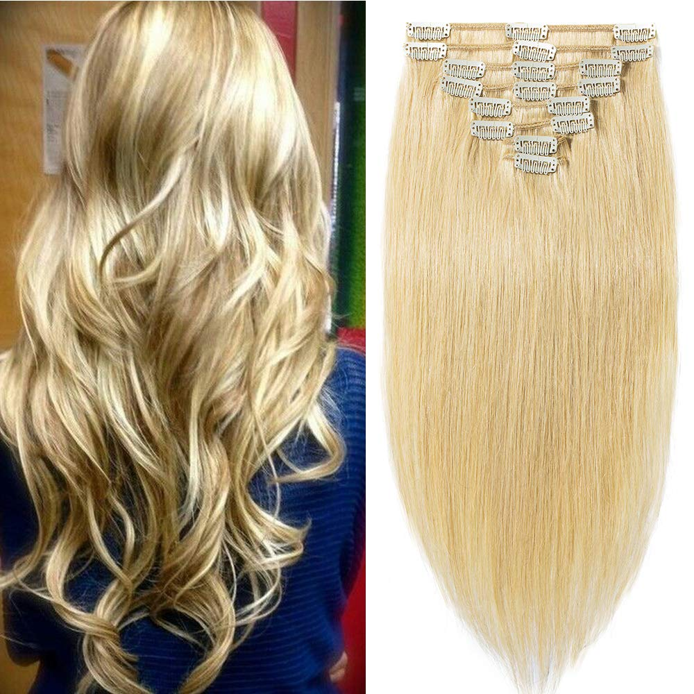 Full Head Clip in Hair Extensions Blonde 100% Real Remy Human Hair Extensions Silky Straight 8 Pieces Long Straight (10-70g, #24 Natural Blonde) S-noilite