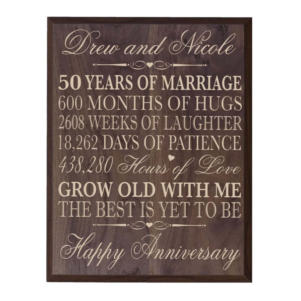 Personalized 50th Wedding Anniversary Wall Plaque Gifts for Couple, Custom Made 50th Anniversary Gifts for Her,50th Wedding Anniversary Gifts for Him 12'' W X 15'' H Wall Plaque (Grand Walnut)