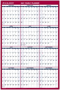 "2021 Erasable Calendar, Dry Erase Wall Planner by AT-A-GLANCE, 36"" x 24"", Large, Vertical/Horizontal, Reversible (PM26B2821)"