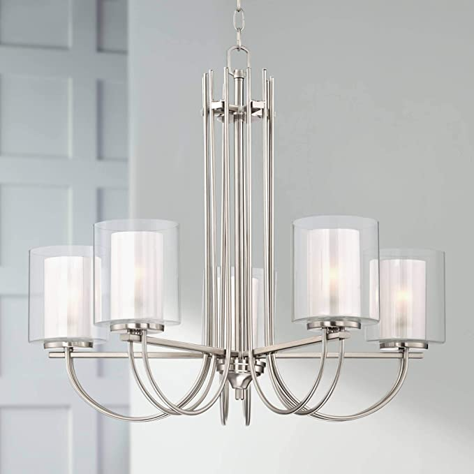 Melody Brushed Nickel Chandelier 26 3 4 Wide Modern Curved Arms Clear Frosted Glass 5 Light Fixture Dining Room House Foyer Entryway Kitchen Bedroom Living Room High Ceilings Possini Euro Design