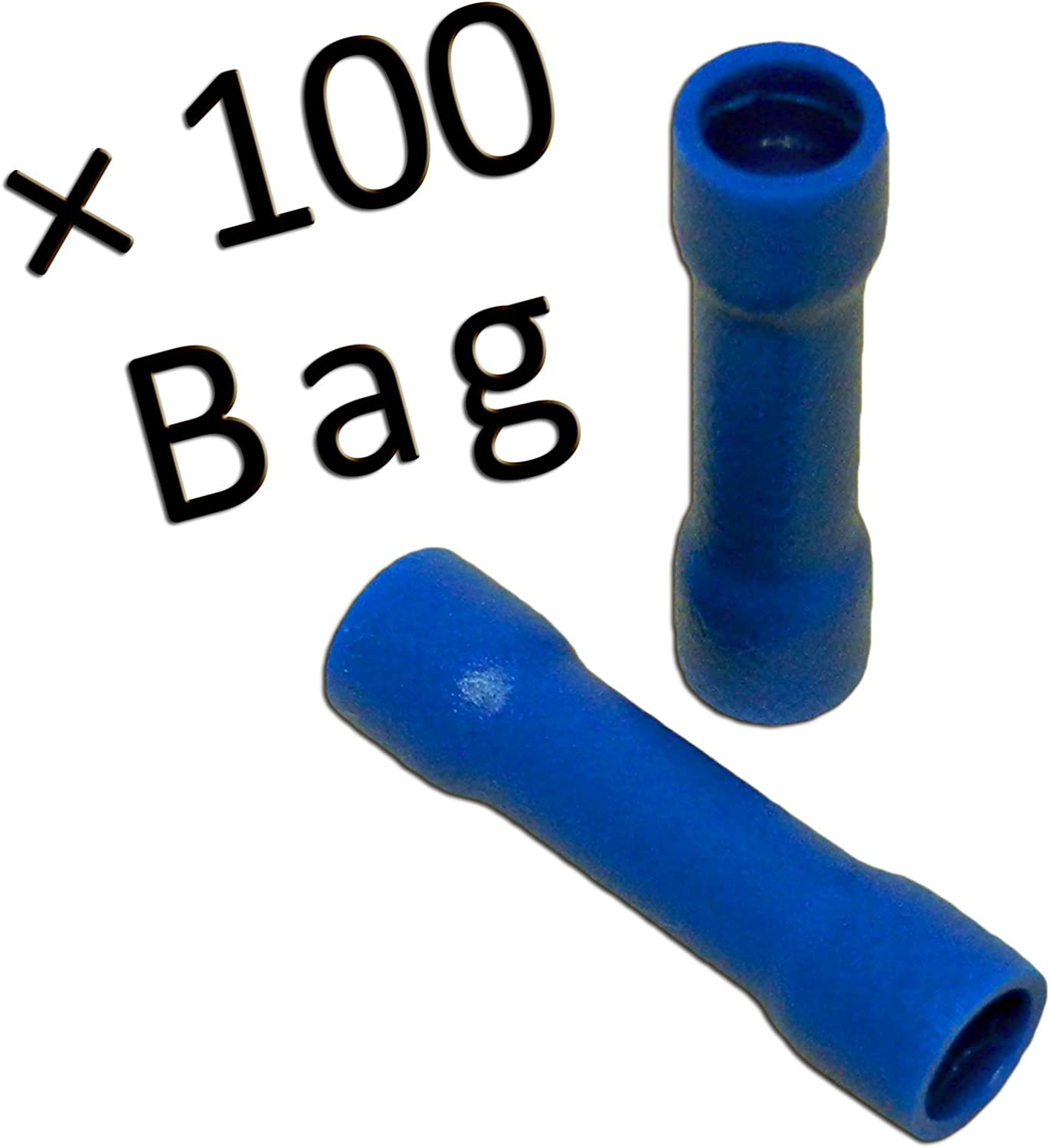 US 1000pc 16-14GA Heat Shrink Electrical Butt Wire Connector Crimp Terminal Blue