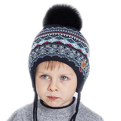 ee5ba2c607bd URSFUR Bébé Garçon Fille Bonnet Beanies Tricot Pompon Fourrure Renard  Chapeau Bobble Cache Oreilles Enfant Hiver