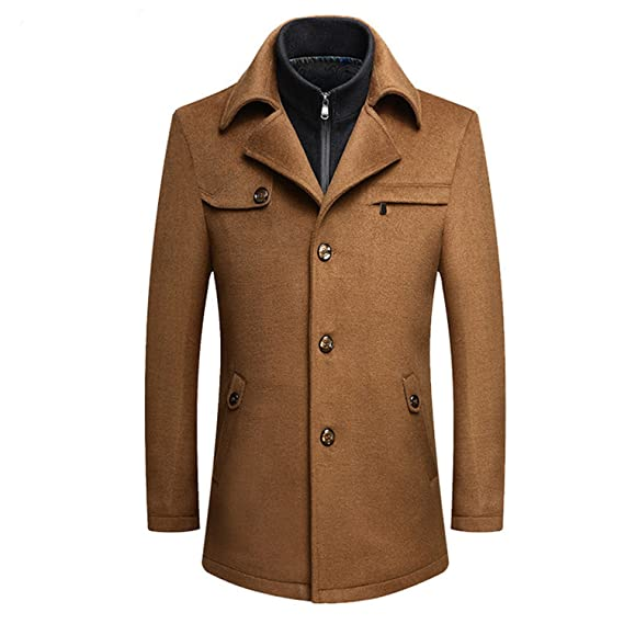 Also Easy Cashmere Coat Men Mens Wool Coat Jacket Fashion Slim Fit Wool Blends Pea Coat Casual Trench Men Coat at Amazon Mens Clothing store: