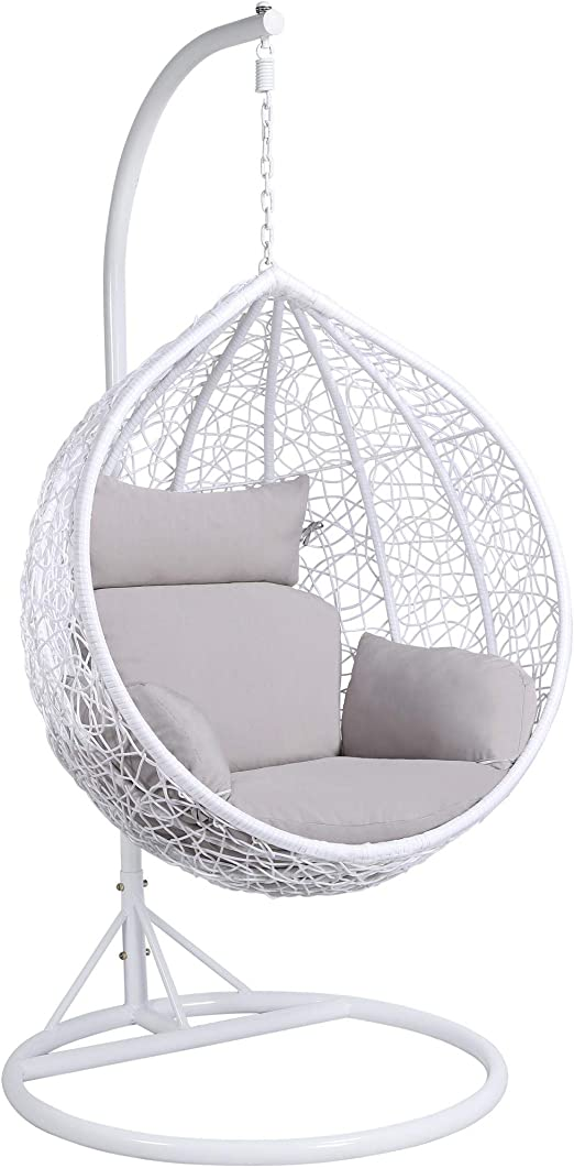 Yaheetech Hanging Relax Egg Chair Garden Rattan Swing Chair With Stand Cushion Cover 150 Kg Capacity White Amazon Co Uk Garden Outdoors